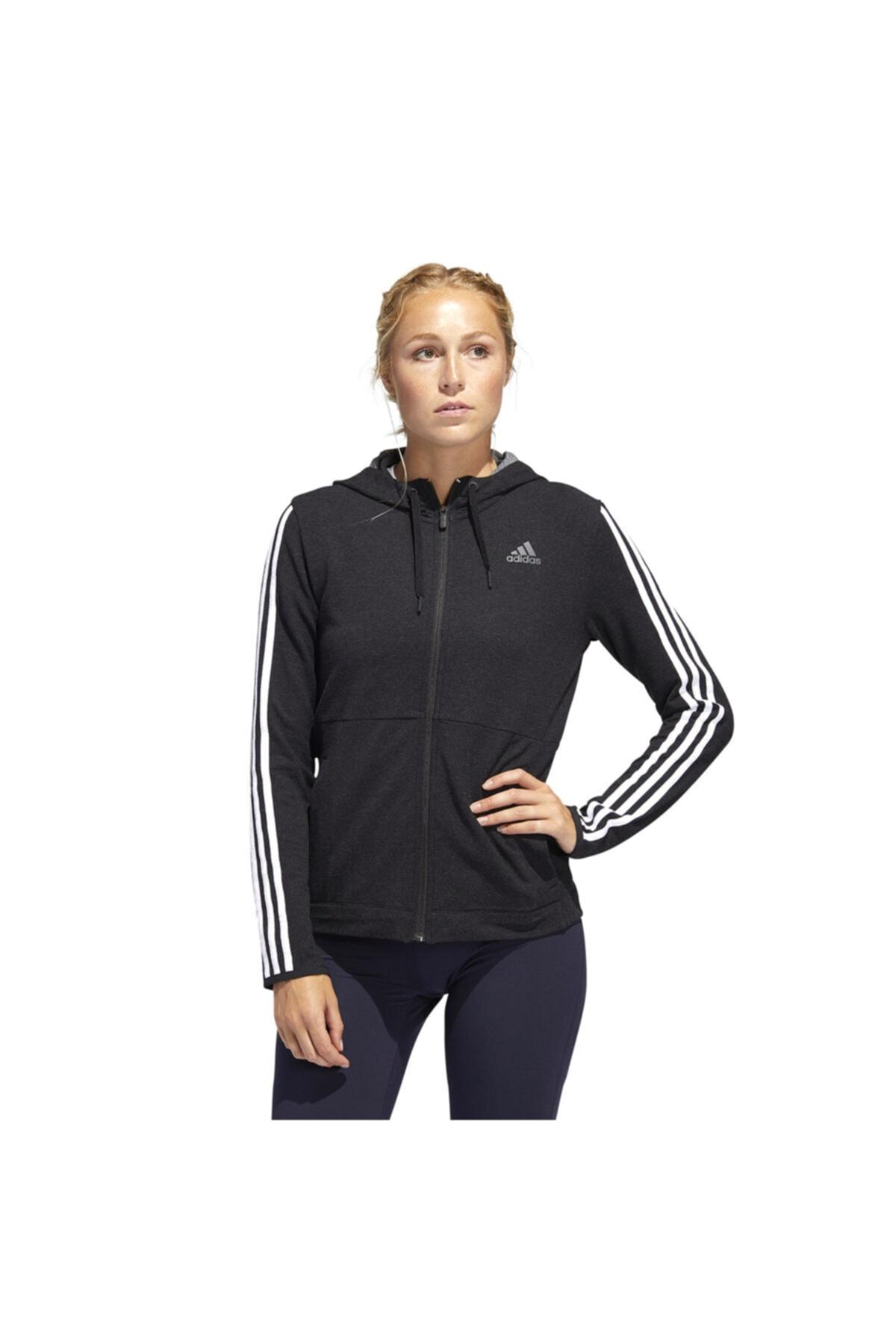adidas Kadın Siyah 3s Knt Fz Hoody Antrenman Sweatshirt Fj7316 1