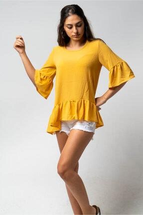 CNS Kadın Sarı Etek Kol Fırfırlı Bluz