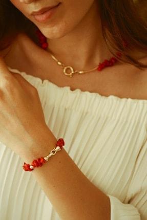 LİNYA JEWELLERY Kadın Kırmızı Mercan Bileklik