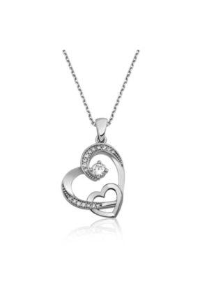Gumush Kadın Gümüş Iki Kalp Kolye