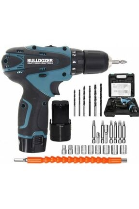 Bulldozer 18 V 3 Ah Darbesiz Çift Akülü Şarjlı Vidalama + 24 Parça Usta Seti (mavi) Ar