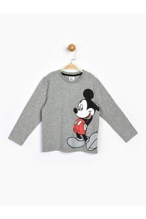 Mickey Mouse Çocuk Gri Mickey Uzun Kol Tişört 17217
