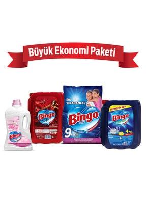 Bingo Toz Çamaşır Deterjanı 9 kg + Yumuşatıcı 5 lt Lovely+Bulaşık Sıvısı 4 kg+Yüzey Temizleyicisi 2,5 lt