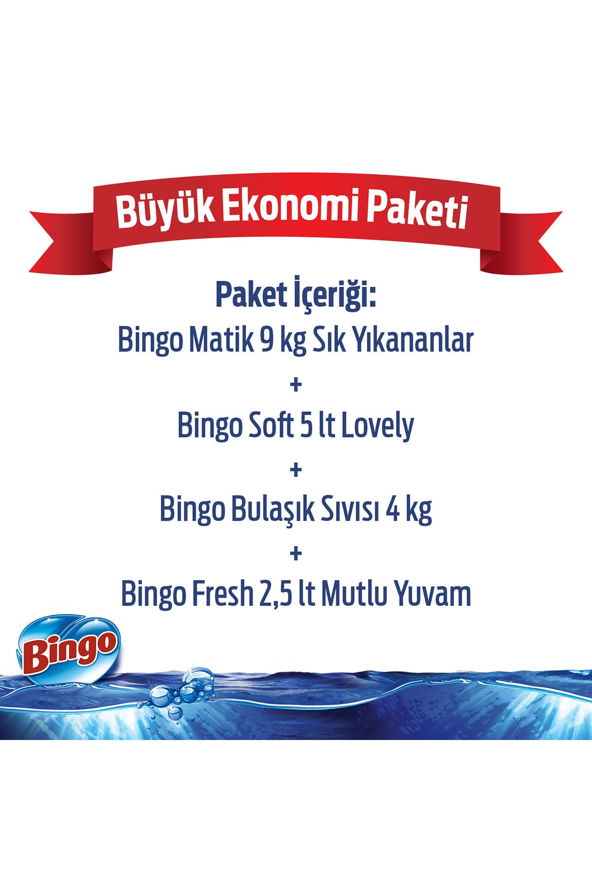 Bingo Toz Çamaşır Deterjanı 9 kg + Yumuşatıcı 5 lt Lovely+Bulaşık Sıvısı 4 kg+Yüzey Temizleyicisi 2,5 lt 2