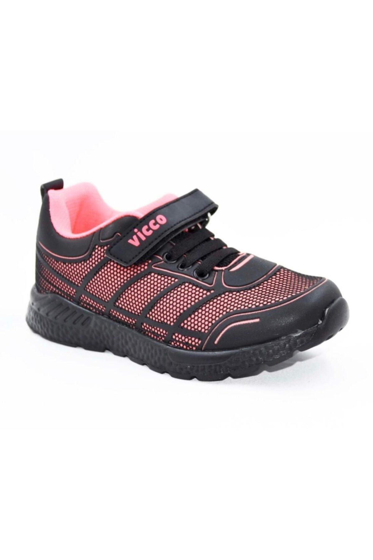 Vicco Unisex Çocuk Siyah Pembe Yürüyüş Ayakkabısı 1