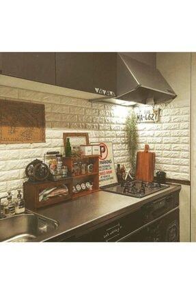 Renkli Duvarlar Kendinden Yapışkanlı Sünger Krem Tuğla Duvar Paneli 70x77 Cm 6 Adet