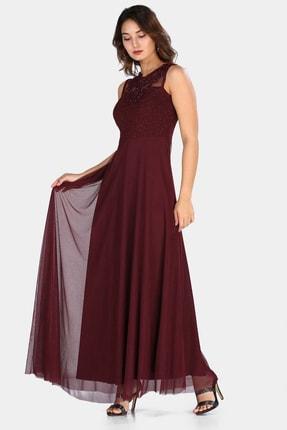 Üçel Life Kadın Bordo Yakası Güpürlü Boncuklu Abiye Elbise