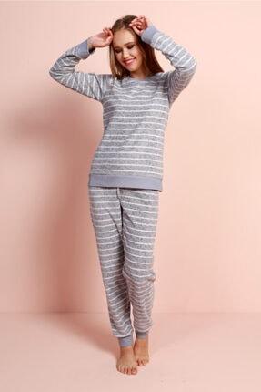 VİENETTA Kadın Gri Uzun Kol Polar Pijama Takım
