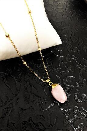 Dr. Stone Dr Stone Golden Pembe Kuvars Taşı 22k Altın Kaplama El Yapımı Kadın Kolye Tkrb19