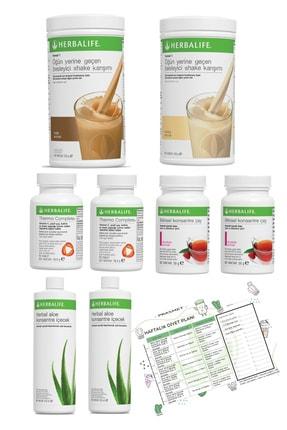 Herbalife 2'li Eko Set Vanilya+fındık Shake + 2 Ahududu Çay + 2 Thermo + 2 Aloe Vera Diyet Listesi Hediyeli