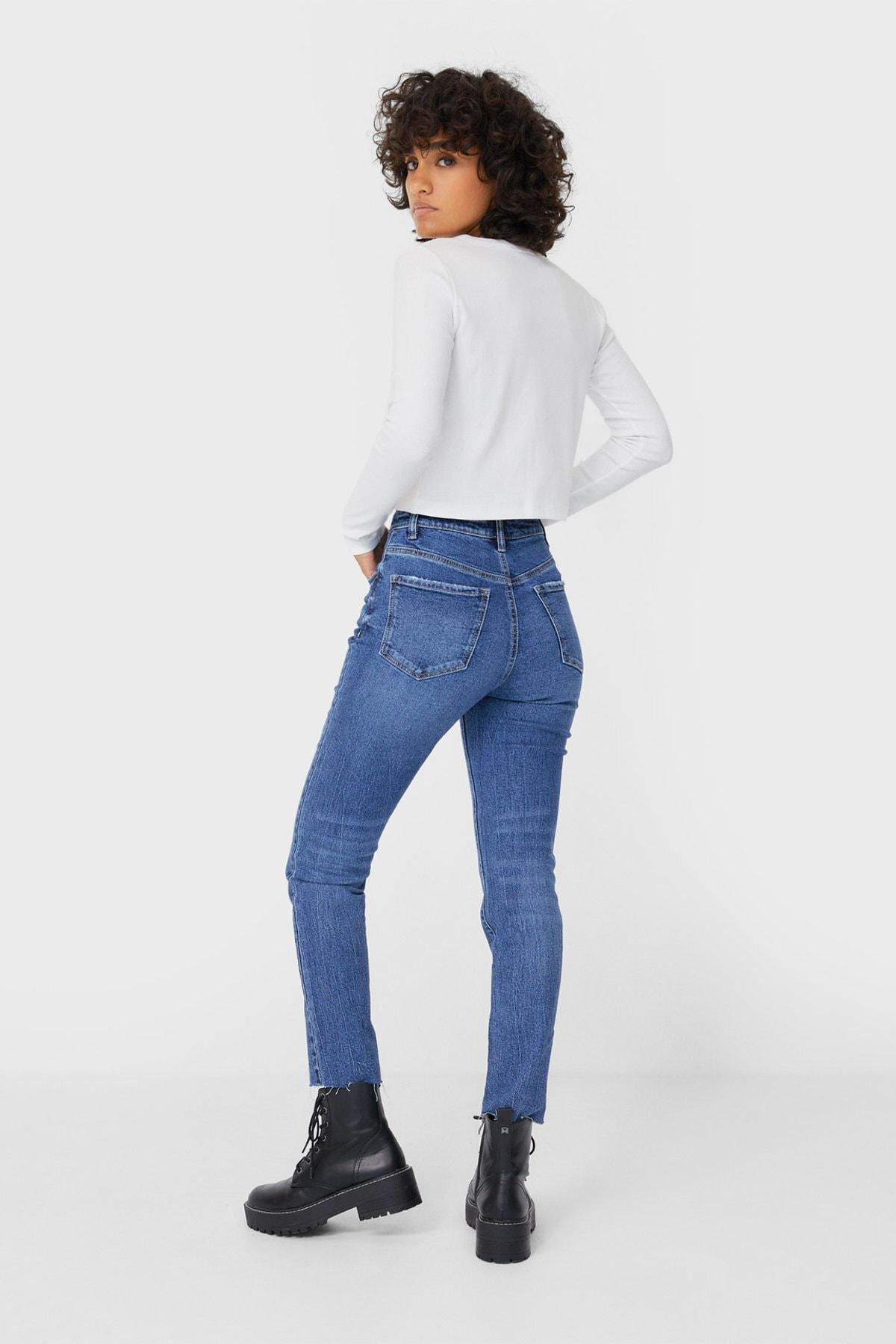Stradivarius Kadın Açık Mavi Yüksek Bel Slim Fit Jean 08479214 2