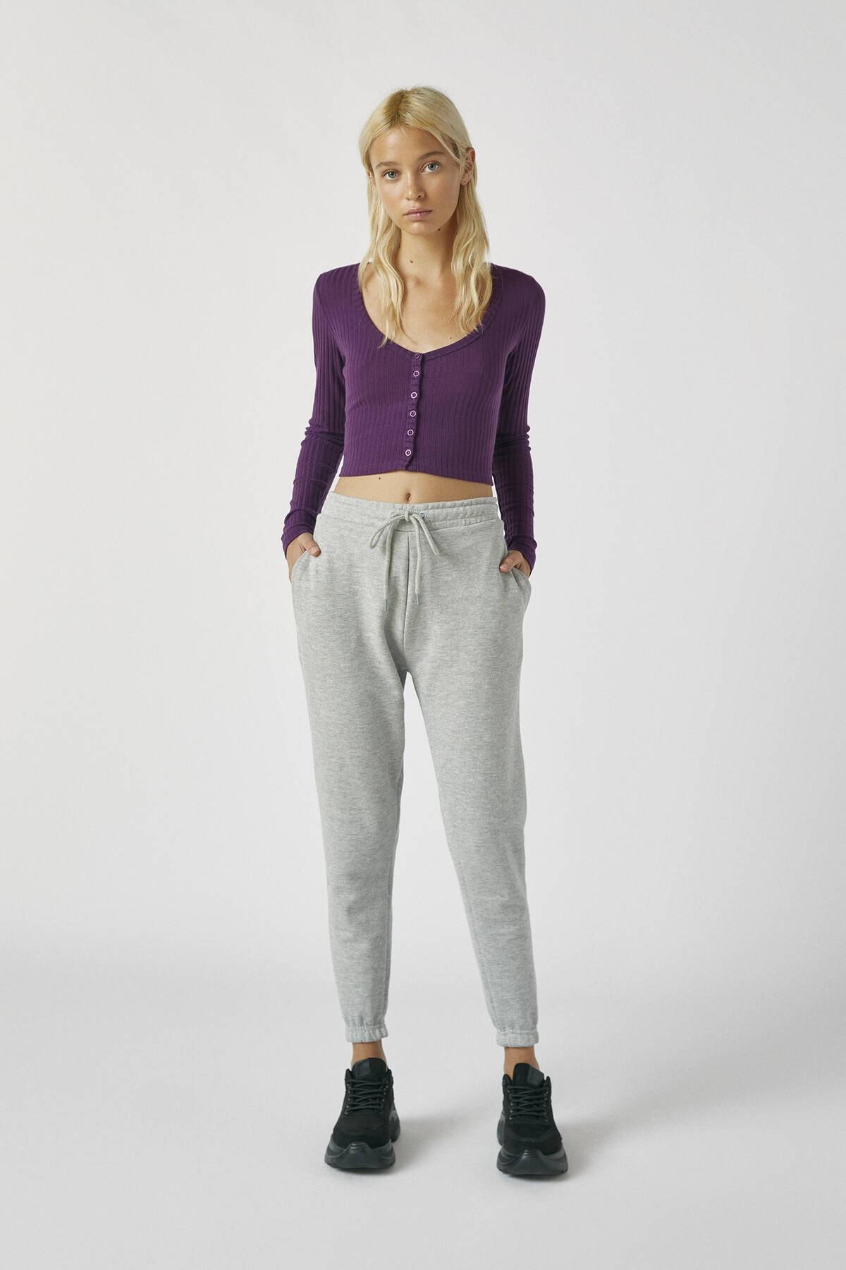 Pull & Bear Kadın Melanj Gri Elastik Paçalı Basic Jogging Fit Pantolon 05670324 1
