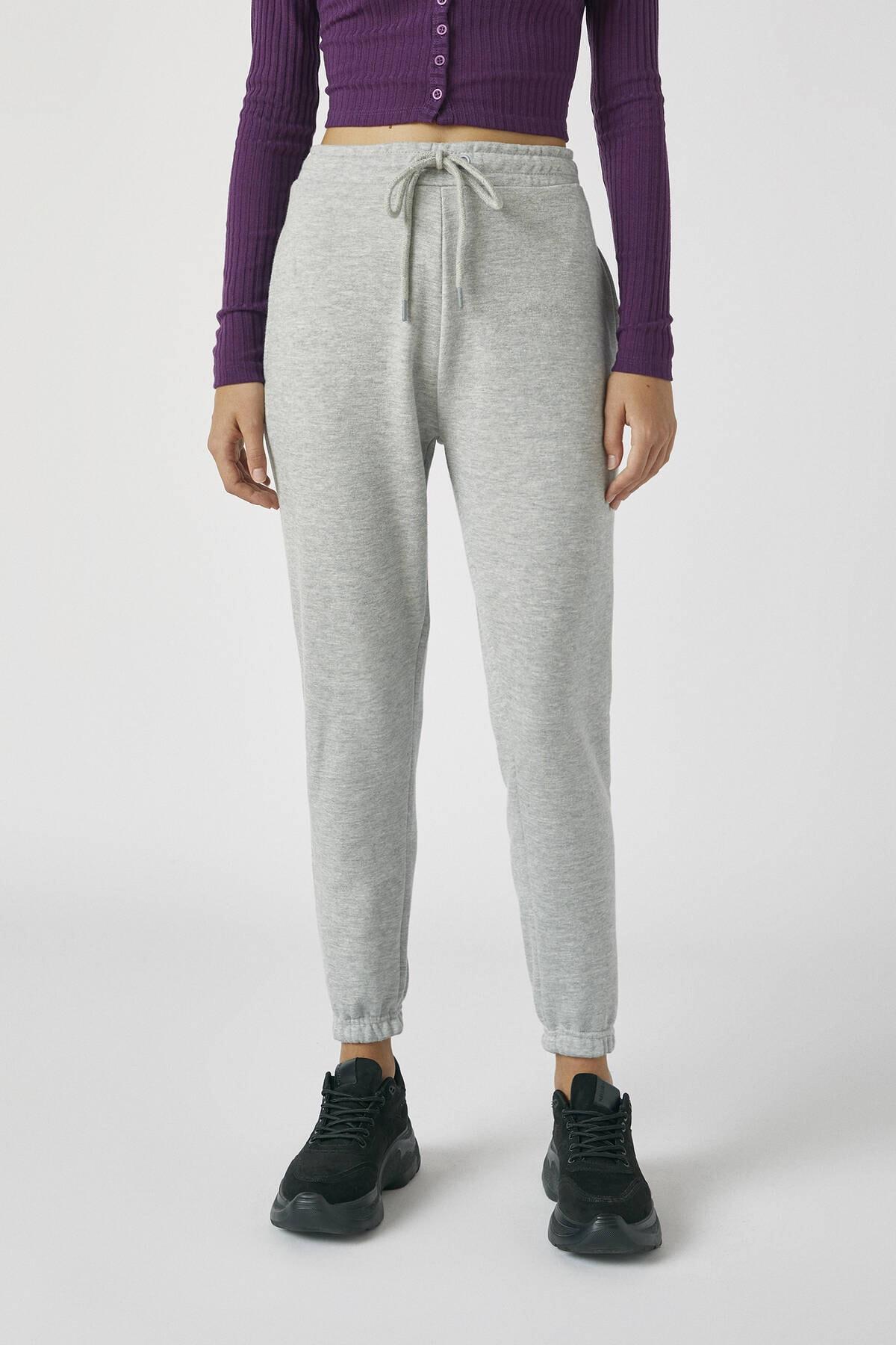 Pull & Bear Kadın Melanj Gri Elastik Paçalı Basic Jogging Fit Pantolon 05670324 2
