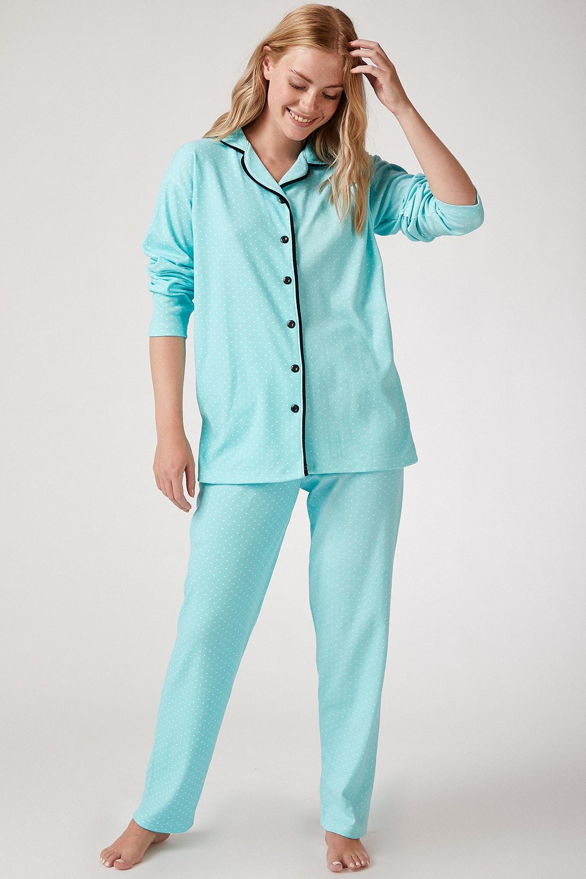Happiness İst. Kadın Su Yeşili Puantiyeli Örme Pijama Takımı GL00021 2
