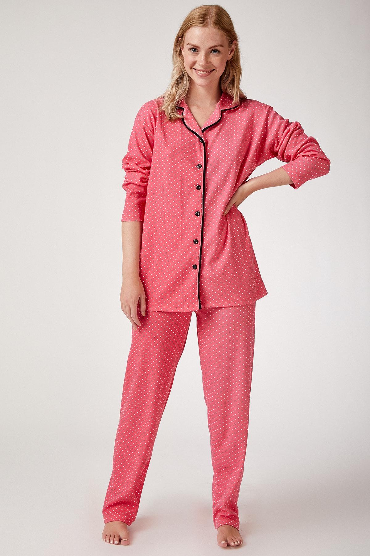 Happiness İst. Kadın Nar Çiçeği Puantiyeli Örme Pijama Takımı GL00021 2