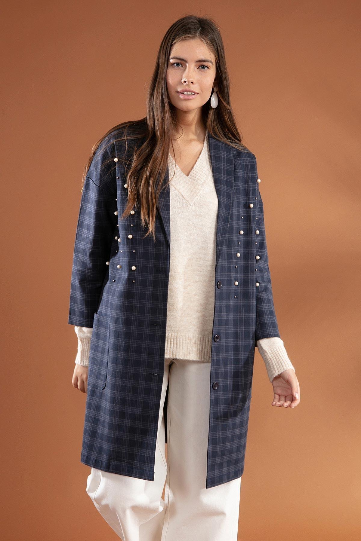 Y-London Kadın Ekose Desenli İnci İşlemeli Ceket 3921 1
