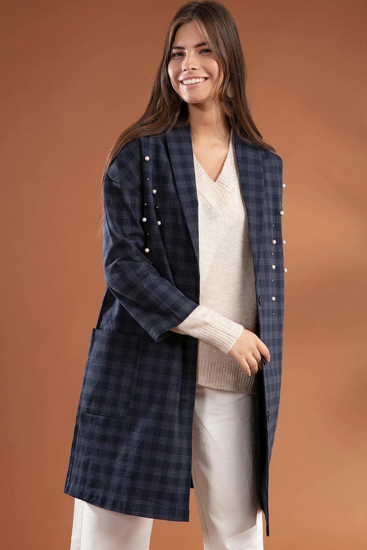 Y-London Kadın Ekose Desenli İnci İşlemeli Ceket 3921 2