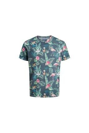 Jack & Jones Unisex Lacivert Sıfır Yaprak Desenlı Kısa Kol T-Shirt