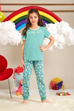Lohusa Sepeti Kız Çocuk Milk Shake Yosun Yeşili Pijama Takımı - 0068 Yaş 9-14