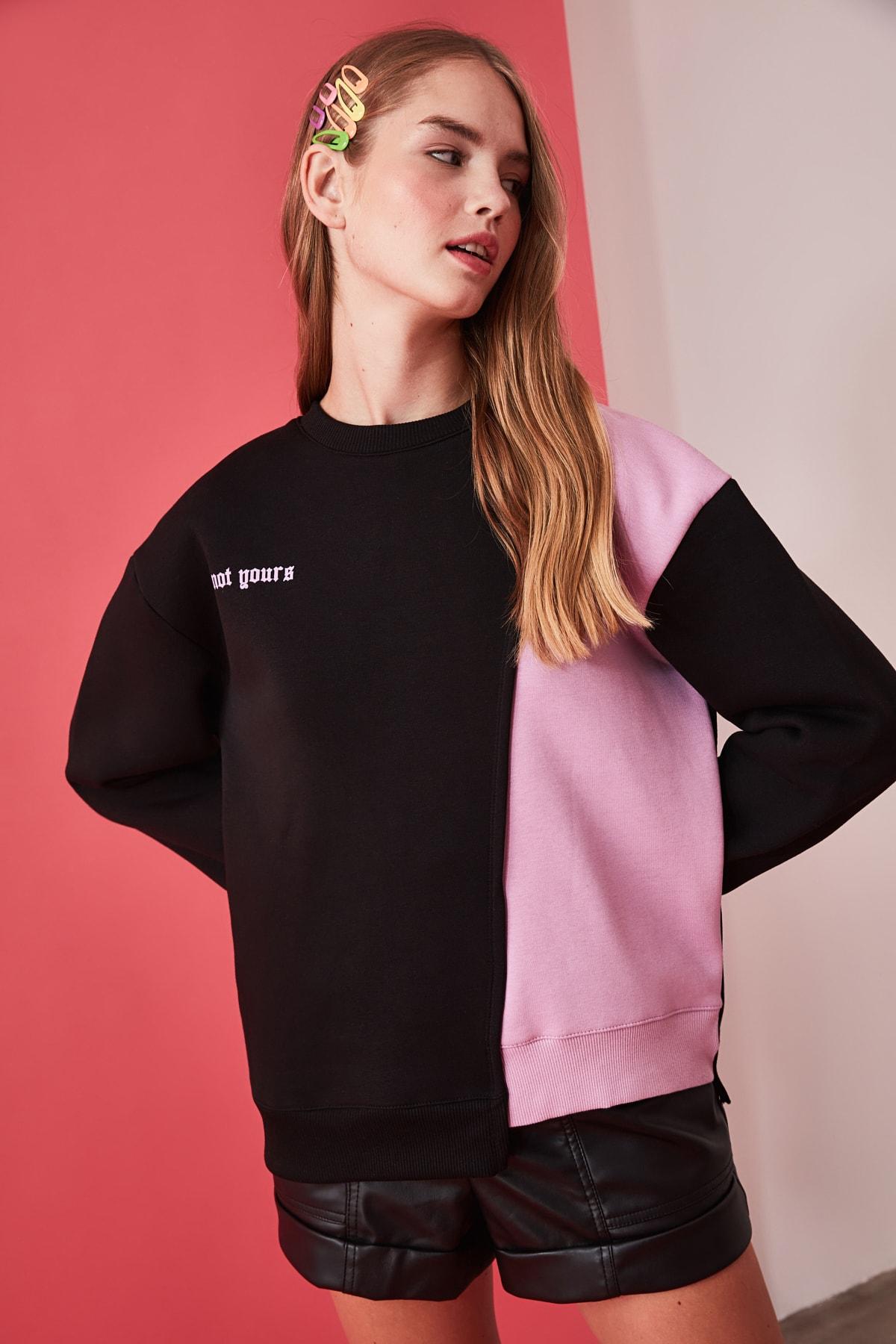 TRENDYOLMİLLA Siyah Ön ve Sırt Baskılı Basic Örme Sweatshirt TWOAW21SW0150 2