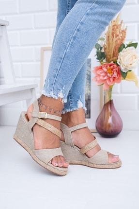 Moda Değirmeni Hasır Keten Kadın Dolgu Topuklu Ayakkabı Md1013-120-0003