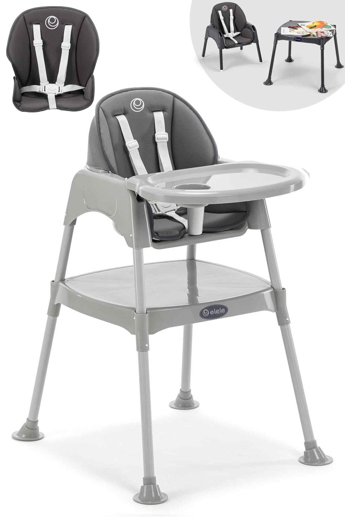 Elele Gri Pasto 3in1 Çalışma Masalı Mama Sandalyesi İç Ped Hediyeli 1
