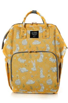 Lal Baby Tavşan Desenli Sarı Anne Bebek Bakım Sırt Çantası