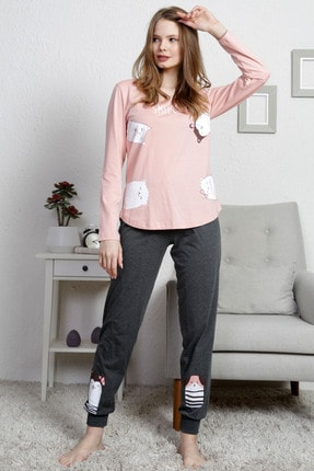 VİENETTA Kadın Şeftali Renk Uzun Kol Penye Suprem Pijama Takım