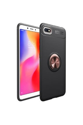 Pickcase Huawei Honor 7s Yüzüklü Standlı Siyah Rose Gold Telefon Kılıfı