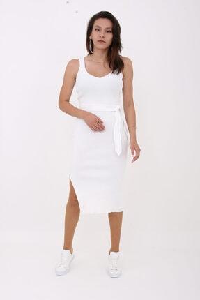 KUTUP MODA Kadın Beyaz Triko Elbise