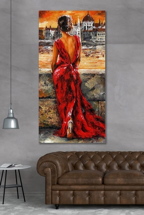 Hediyeler Kapında 90x40 Kırmızı Elbiseli Kadın Kanvas Duvar Tablo