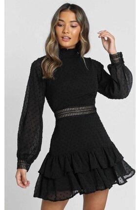 Housebutik Kadın Siyah Güpür Beli Dekolteli Kollar Dantel Işlemeli Kat Kat Elbise