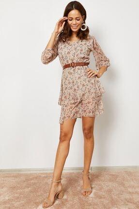 Zafoni Kadın  Bej V Yaka Desenli Elbise