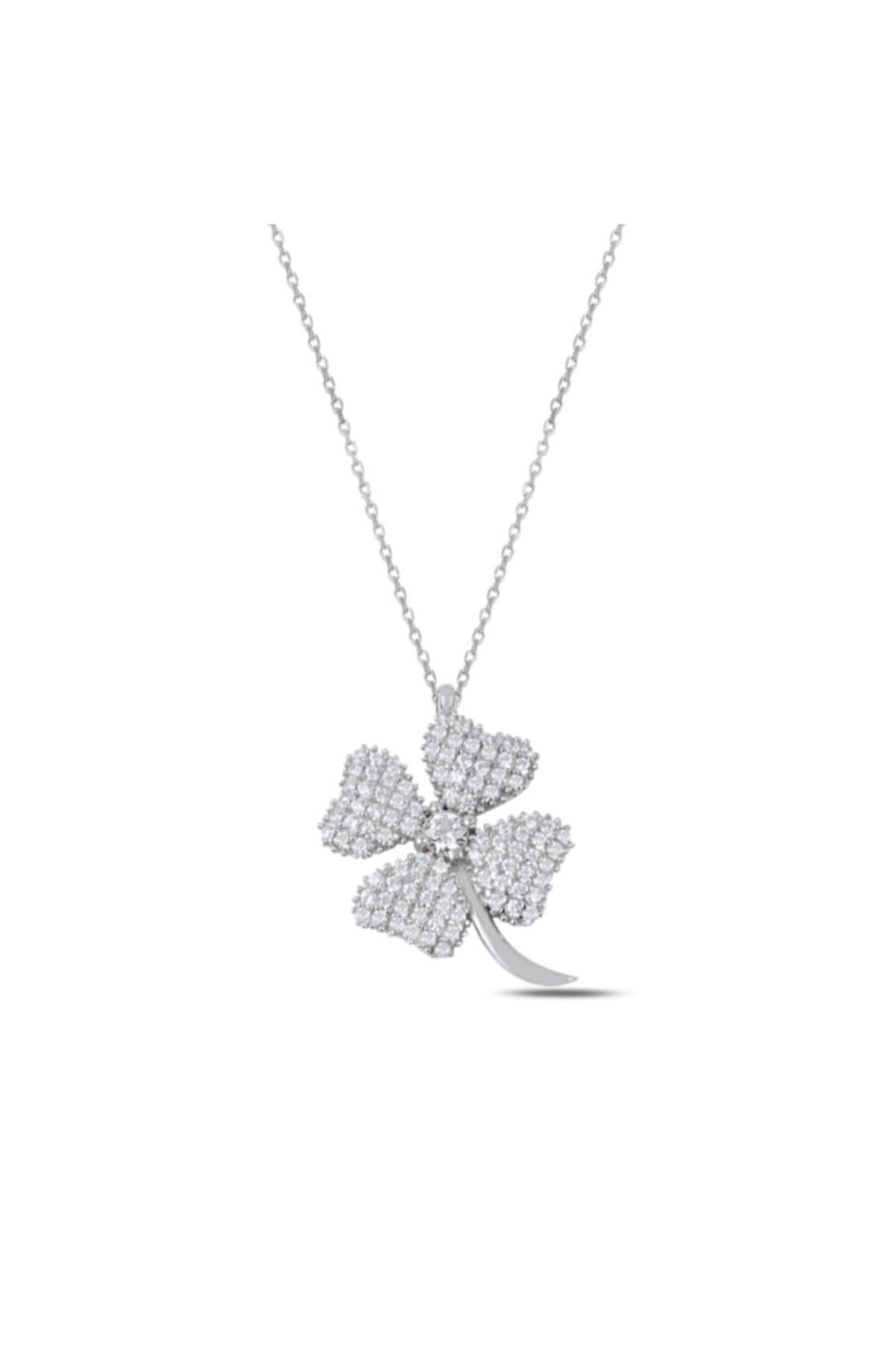 esjewelry Kadın Yonca Model 925 Ayar Gümüş Kolye 1