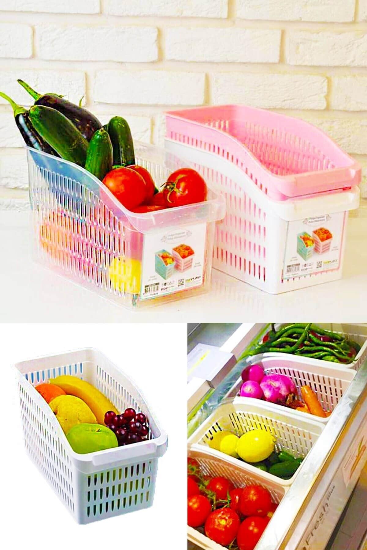 Meleni Home 4'lü Buzdolabı Içi Sebze Meyve Düzenleyici Organizer 1