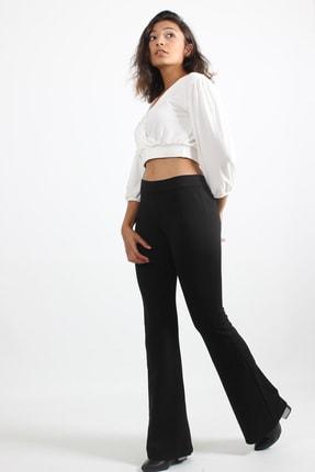 LACHT Kadın Siyah Yüksek Bel Çelik Örme Ispanyol Paça Pantolon