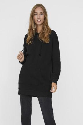 Vero Moda Kadın Siyah Kapüşonlu Oversize Sweatshirt 10235452 VMMARISA