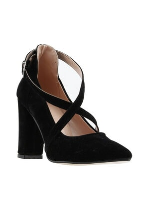 Ayakland Kadın Siyah Süet Klasik Topuklu Ayakkabı 137029-1122