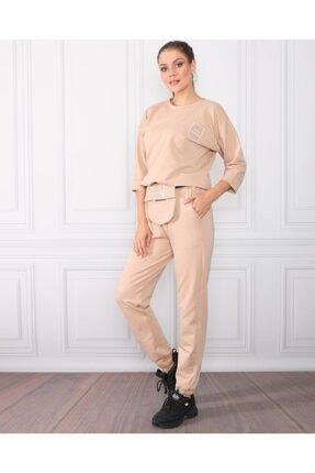 TREND Kadın Taş Rengi Basic Örme Alt Üst Eşofman Takımı Bel Çanta