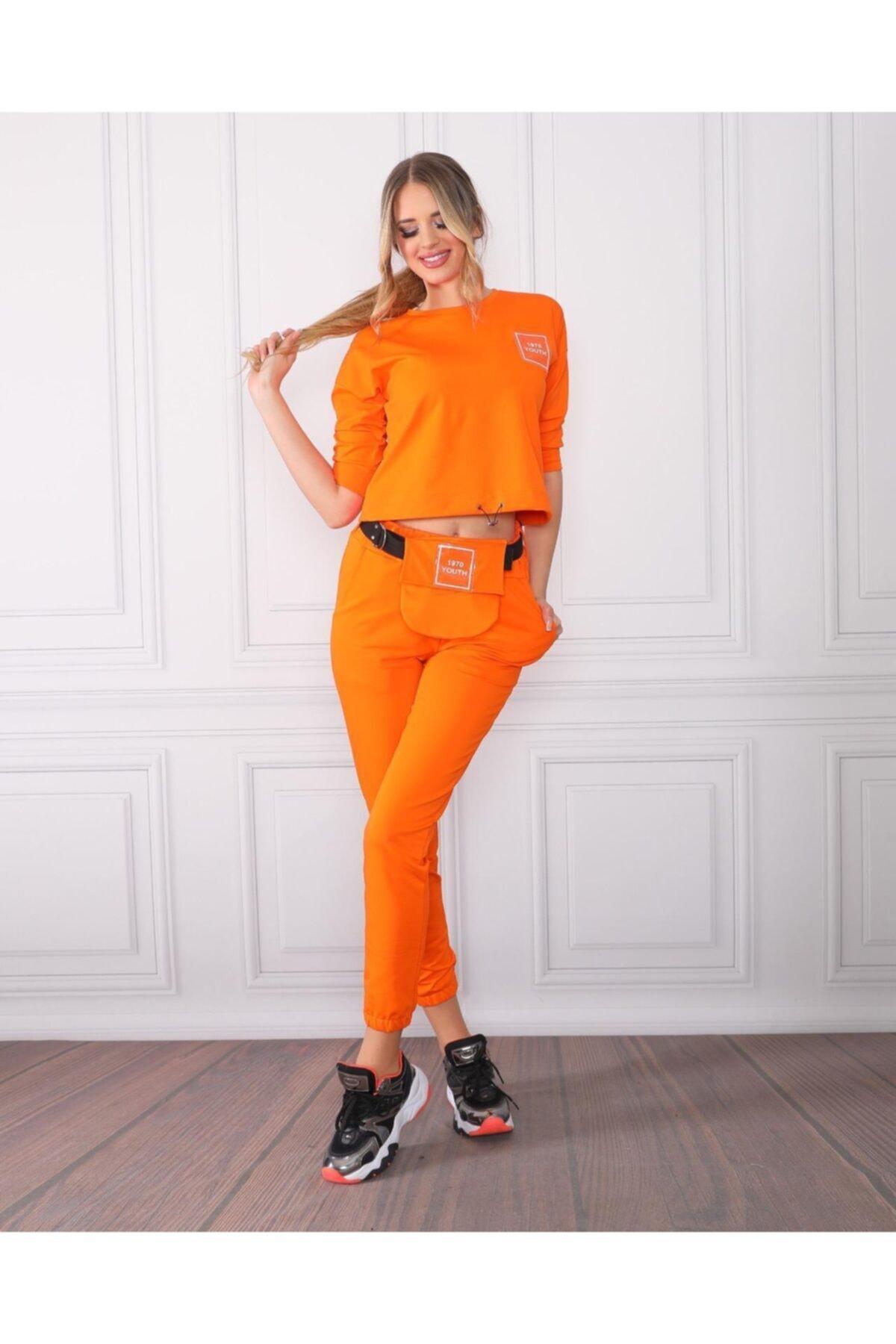 TREND Kadın Turuncu Renk Rengi Örme Alt Üst Eşofman Takımı Bel Çanta 2