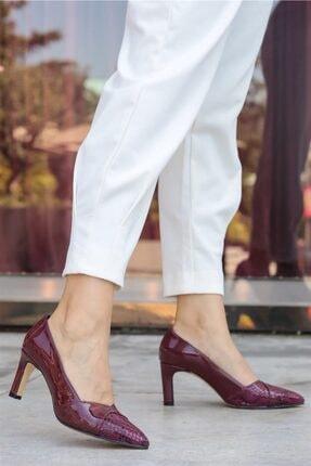 Mio Gusto Kate Bordo Yılan Topuklu Ayakkabı
