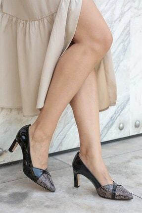 Mio Gusto Kate Siyah Yılan Topuklu Ayakkabı