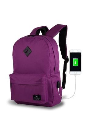 My Valice Smart Bag Specta Usb Şarj Girişli Akıllı Sırt Çantası Mürdüm /