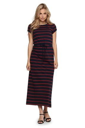 Only Kadın Lacivert Kırmızı Çizgili Elbise 15202995