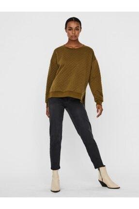 Vero Moda Kadın Yeşil Baklava Desen Yırtmaçlı Kadın Sweatshirt 10234763