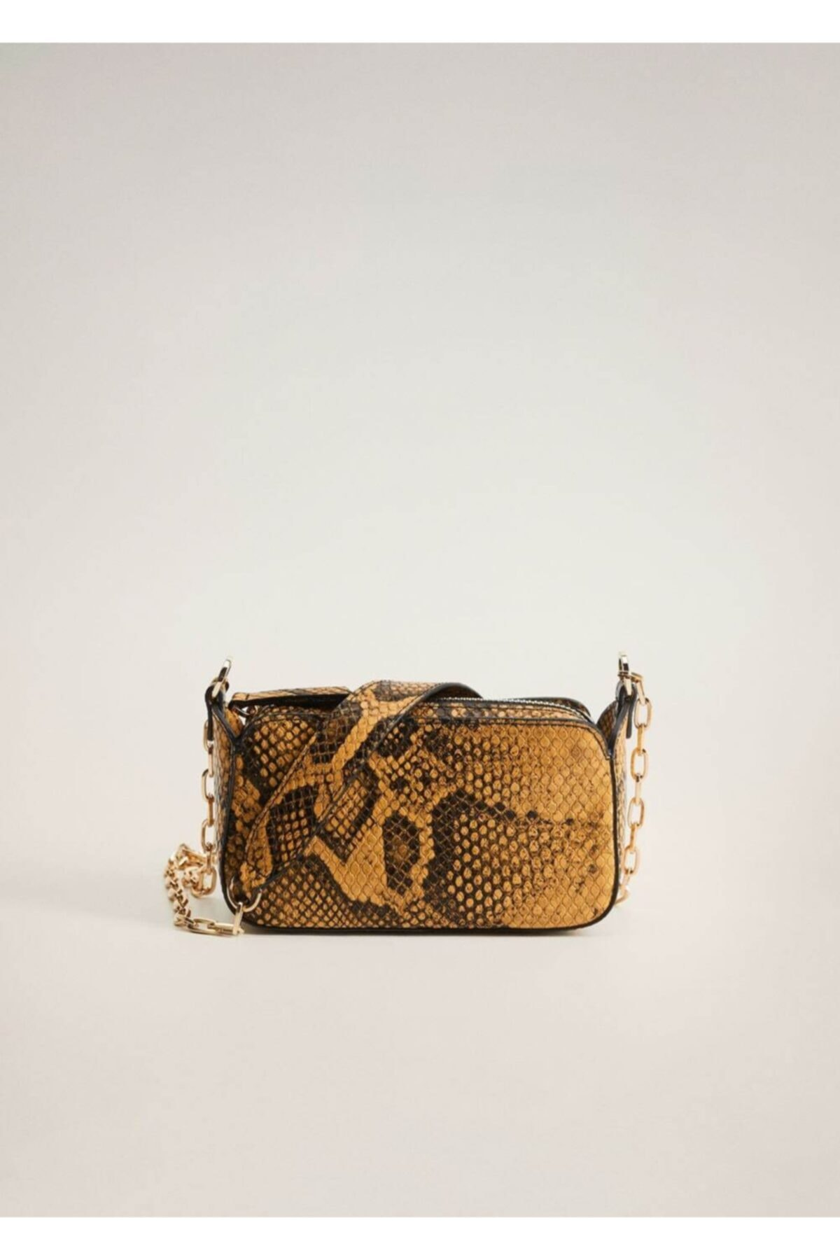 MANGO Woman Kadın Sarı Yılan Derisi Görünümlü Mini Çanta 1
