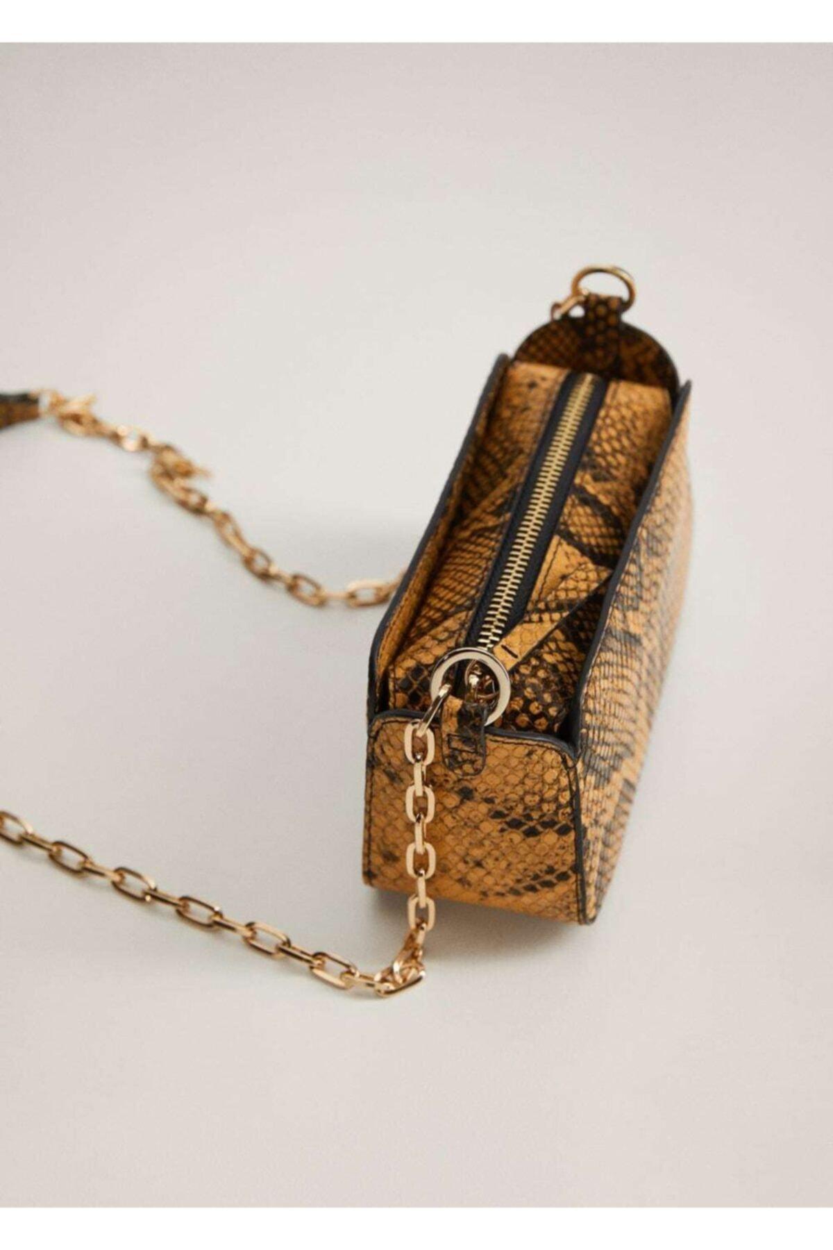 MANGO Woman Kadın Sarı Yılan Derisi Görünümlü Mini Çanta 2