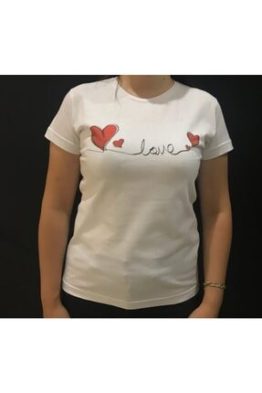 Panda Beyaz Kalpli Love Baskılı T-shirt