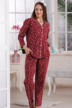Emose Kadın Mürdüm Düğmeli Lohusa Pijama Takım