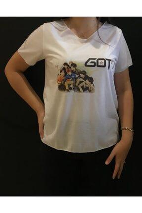 Panda Unisex Beyaz K-pop's Got7 Baskılı T-shirt